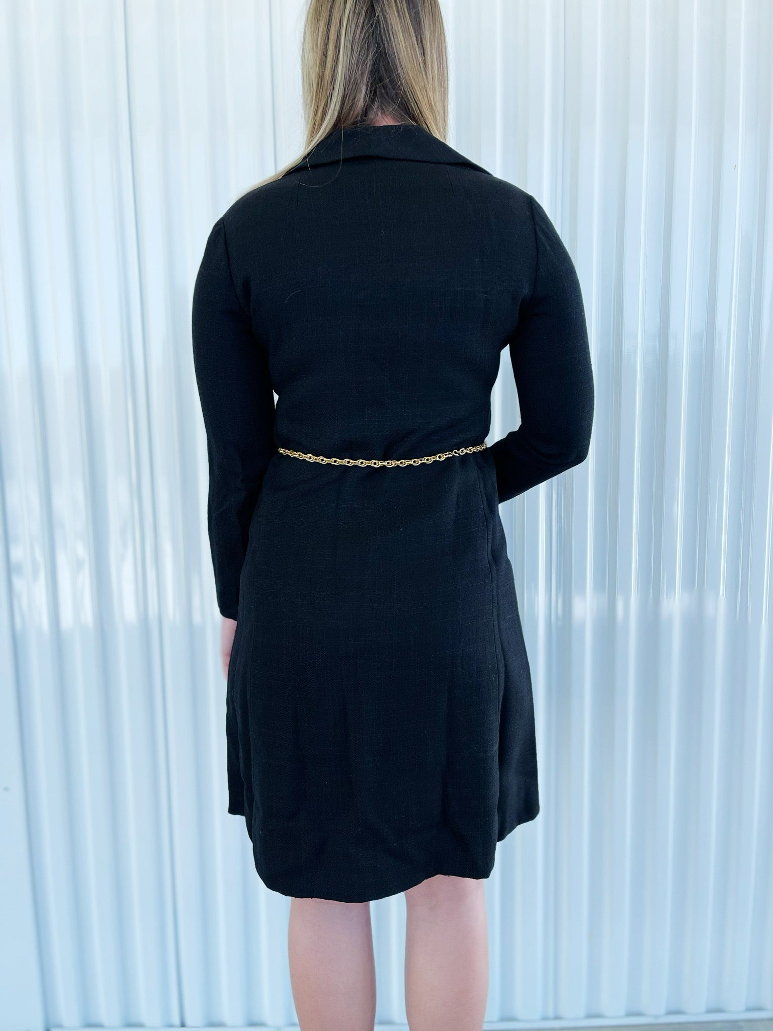 Adele Simpson Black Linen Dress with Chain Belt