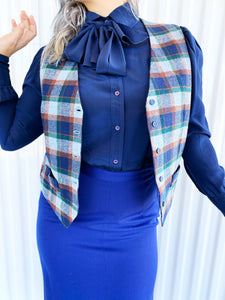 Vintage Navy Silk Blouse with Bow
