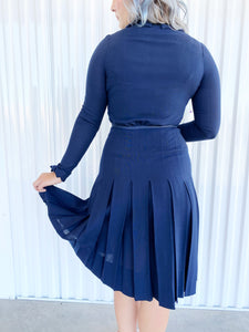 Vintage Navy Dress with Front Snap Closure