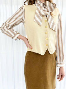 Russ Striped Silk Blouse with Bow