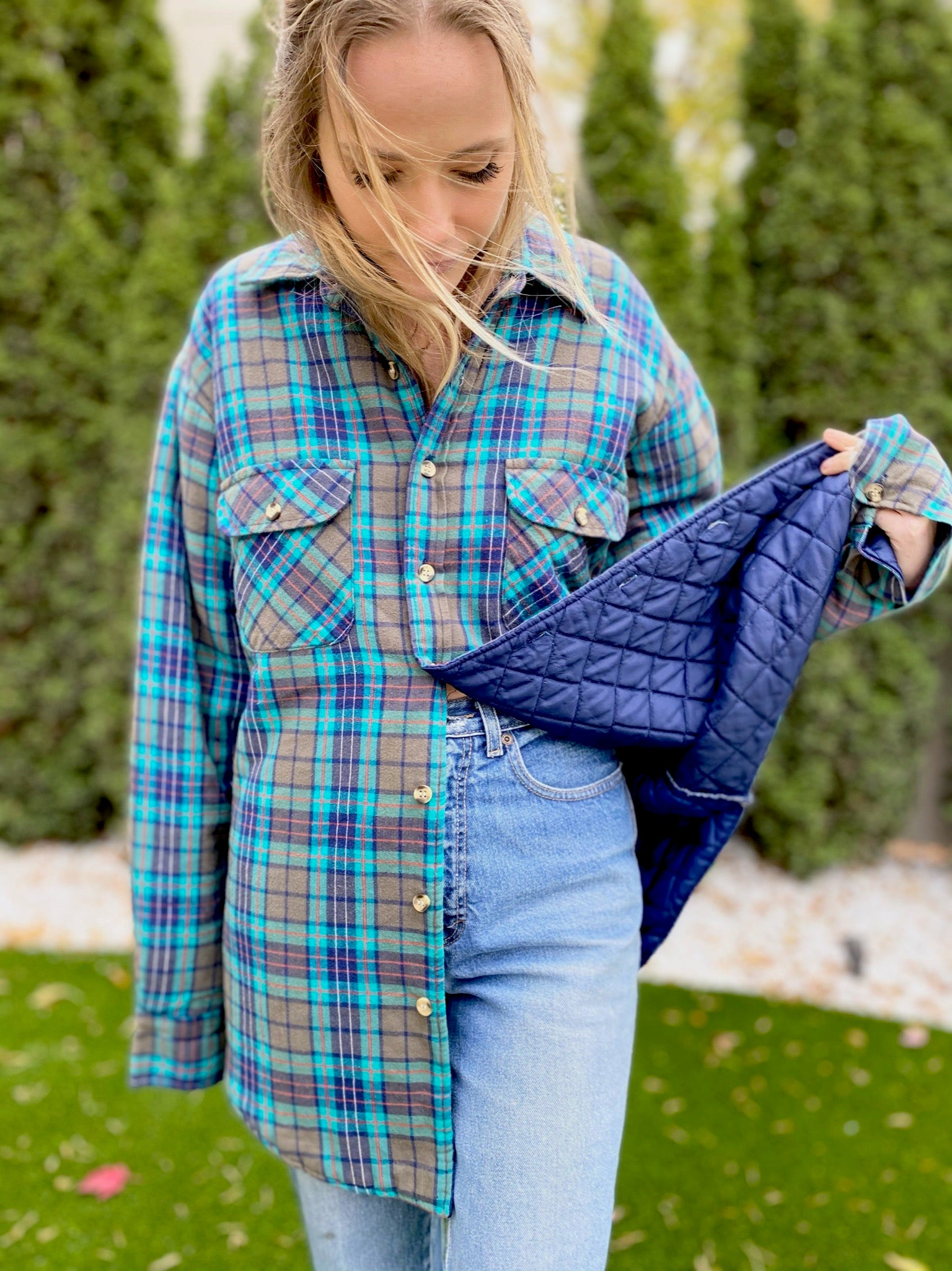 Plaid Button Up with Quilted Lining