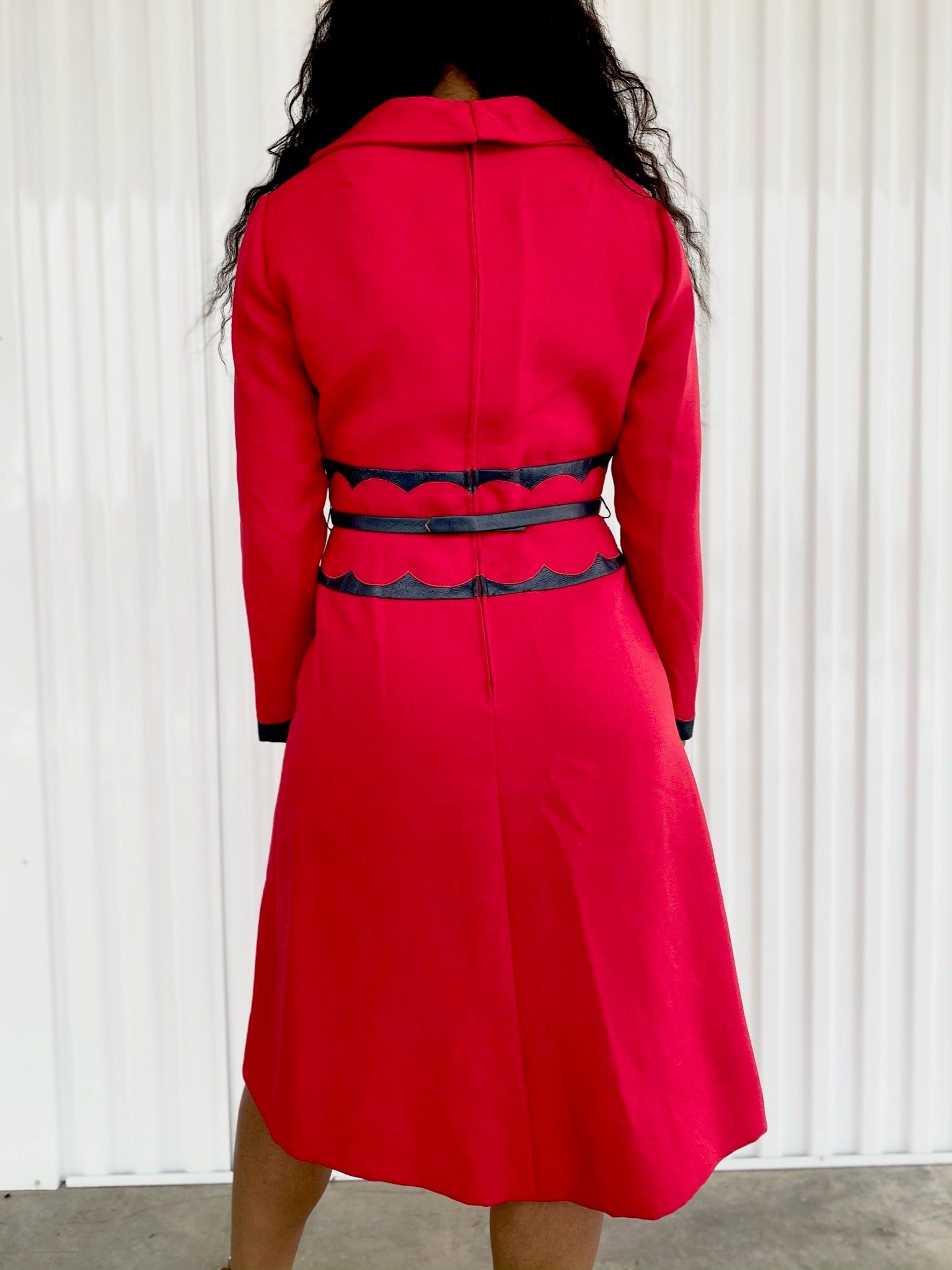 Shannon Rodgers Dress with Navy Leather Trim