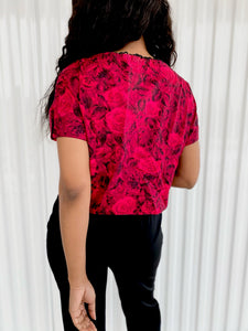 Roses Cropped Handmade Top