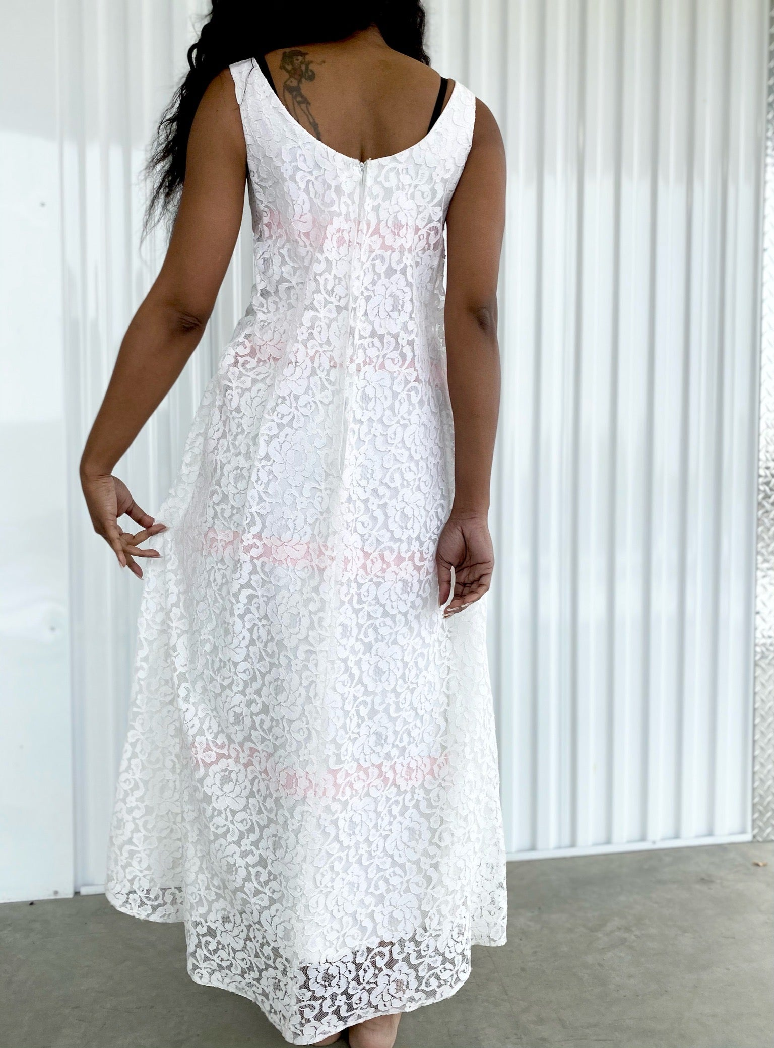 Lace Maxi Dress with Pink Bows