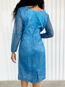 Silk Dress with Lace Overlay and Scalloped Neckline