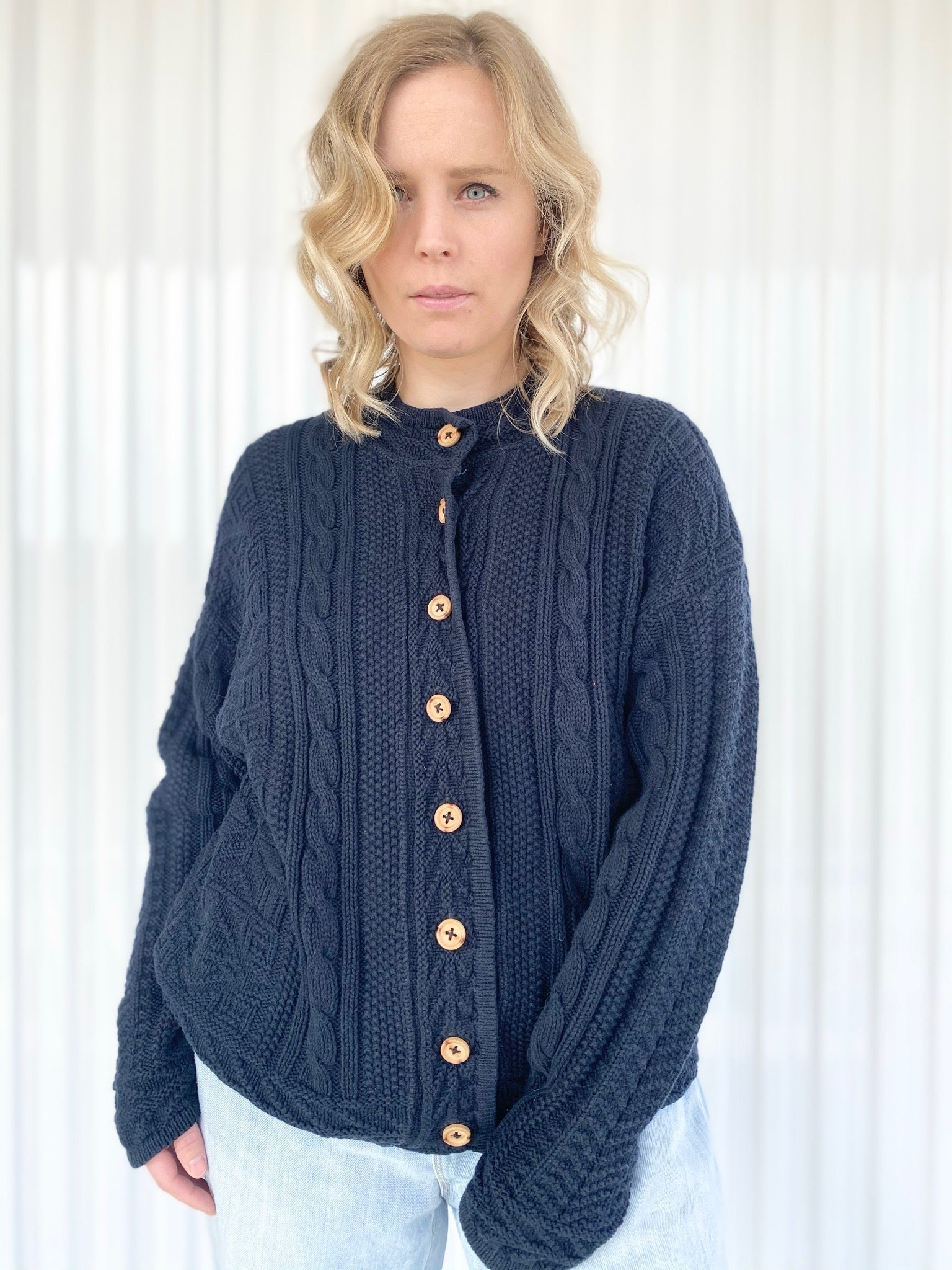 L.L. Bean Knit Cardigan with Wooden Buttons (M)