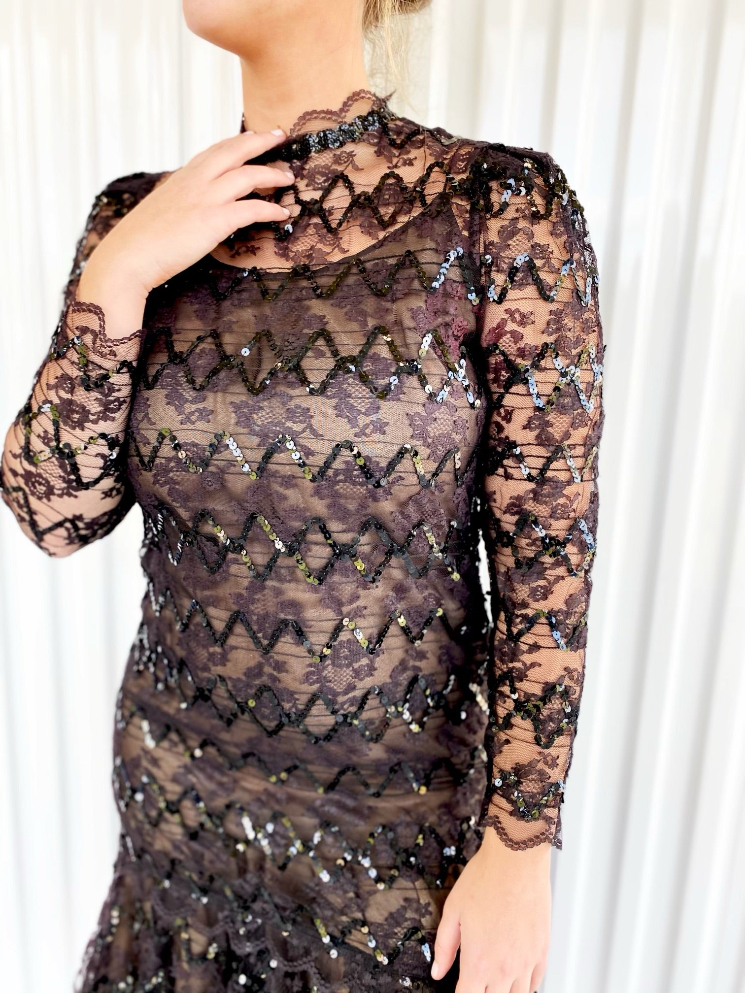 Sequin Dress with Nude Lining
