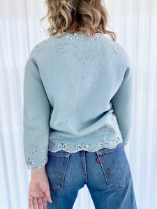 Beaded Cardigan with Scalloped Bottom