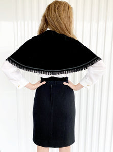 Belted Velvet Cape with Tassel