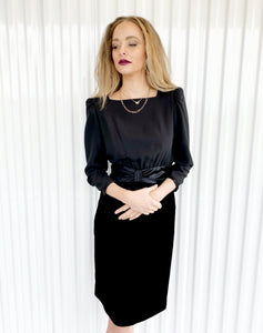 Albert Nipon Satin Waisted Velvet Dress with Should Pads