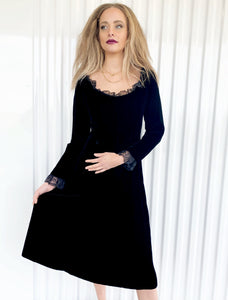 Molly Parnis Velvet Dress with Lace Trim