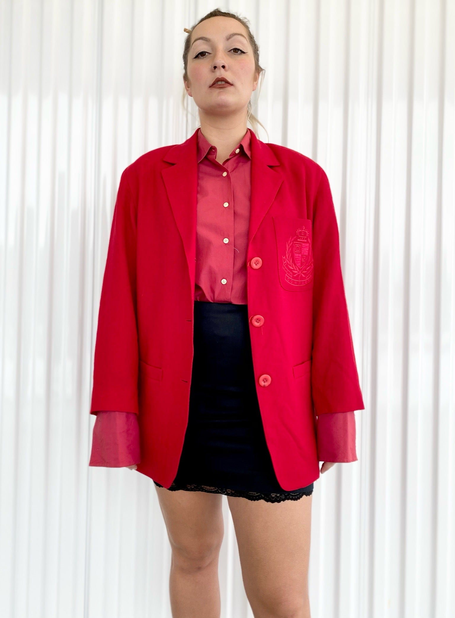 Ellen Tracy Blazer with Crest and Shoulder Pads