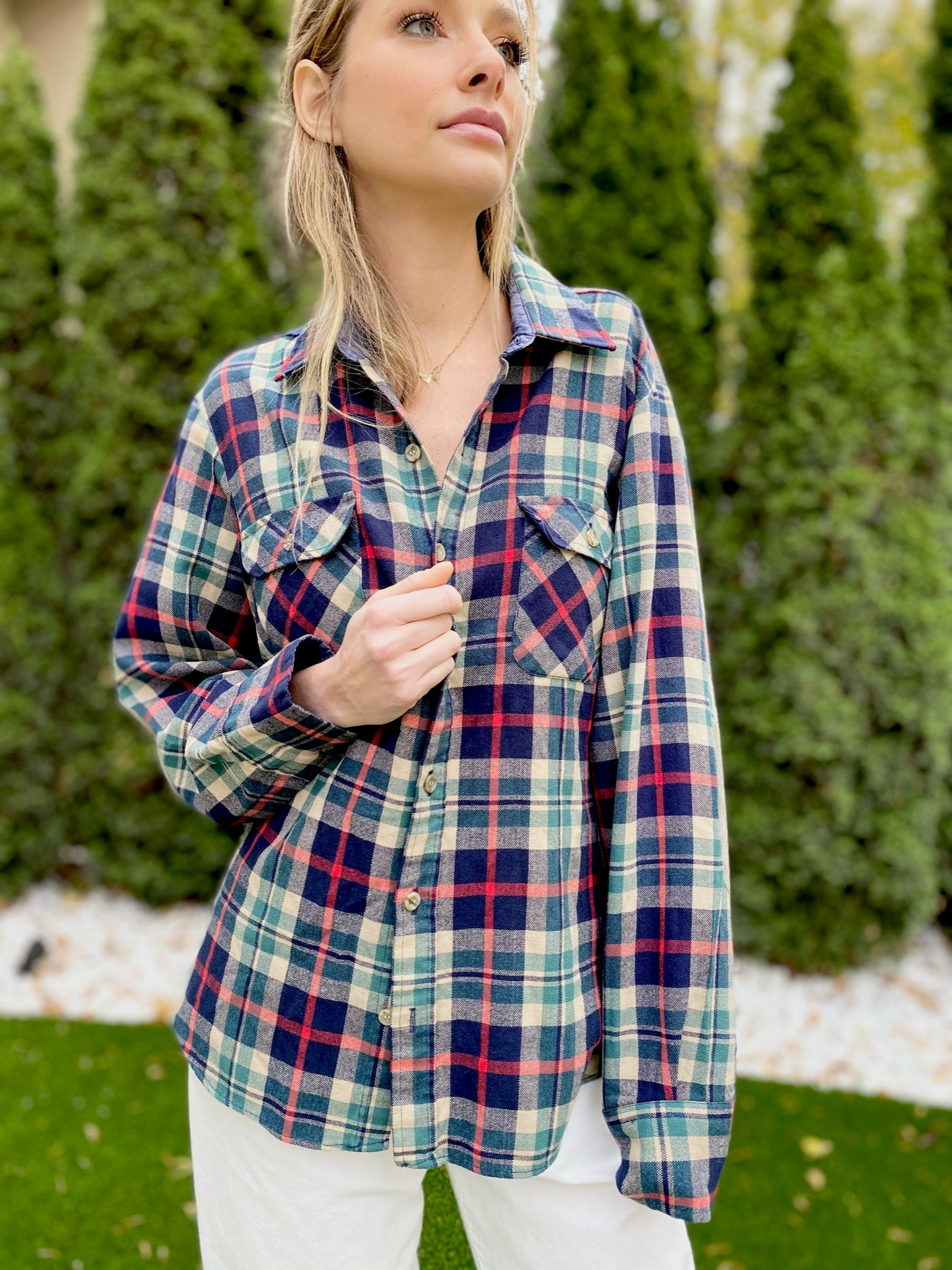 Plaid Acrylic Button Up with Elbow Patches (M)
