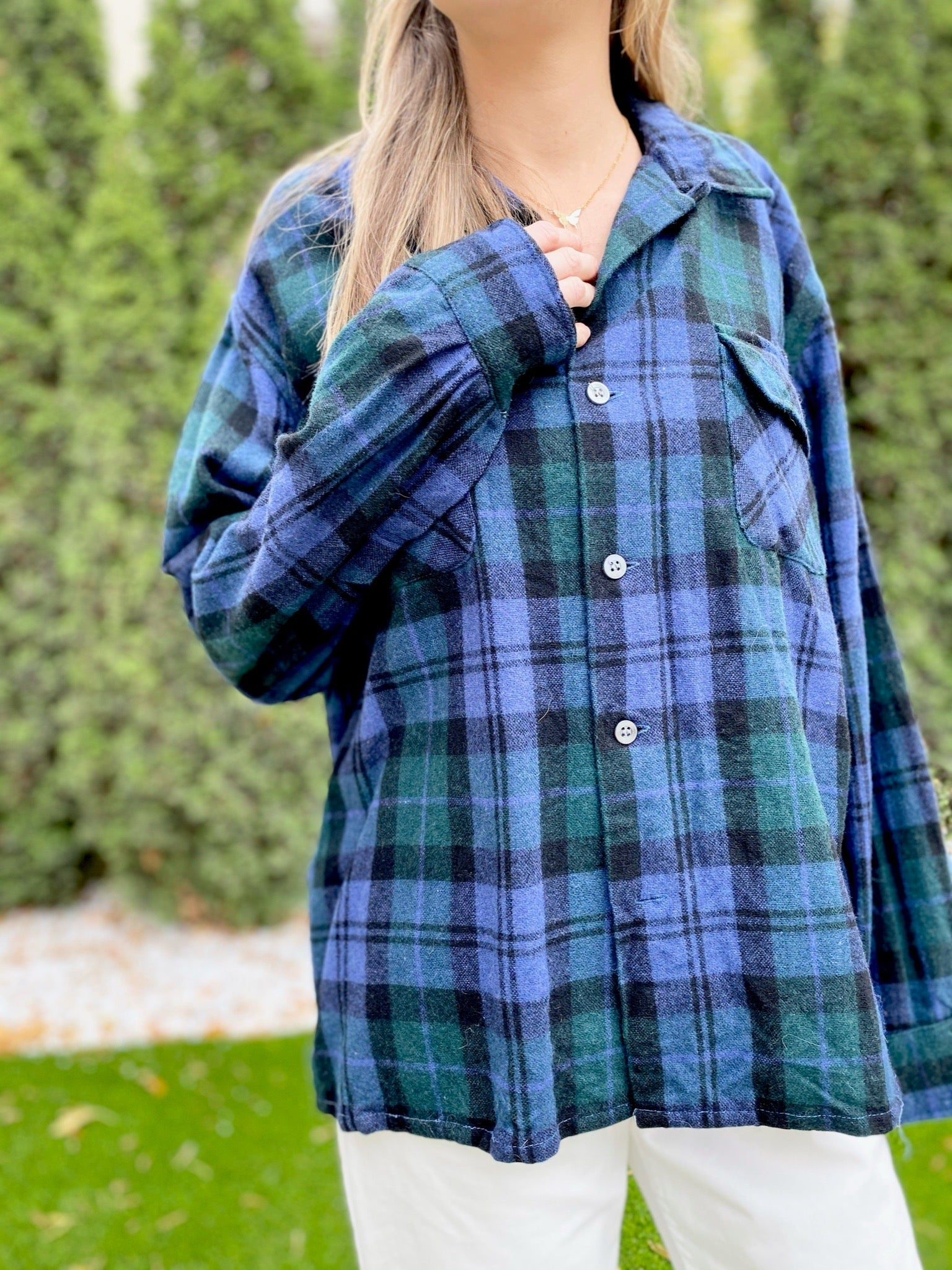 Bellmont Wool Plaid Top (L)