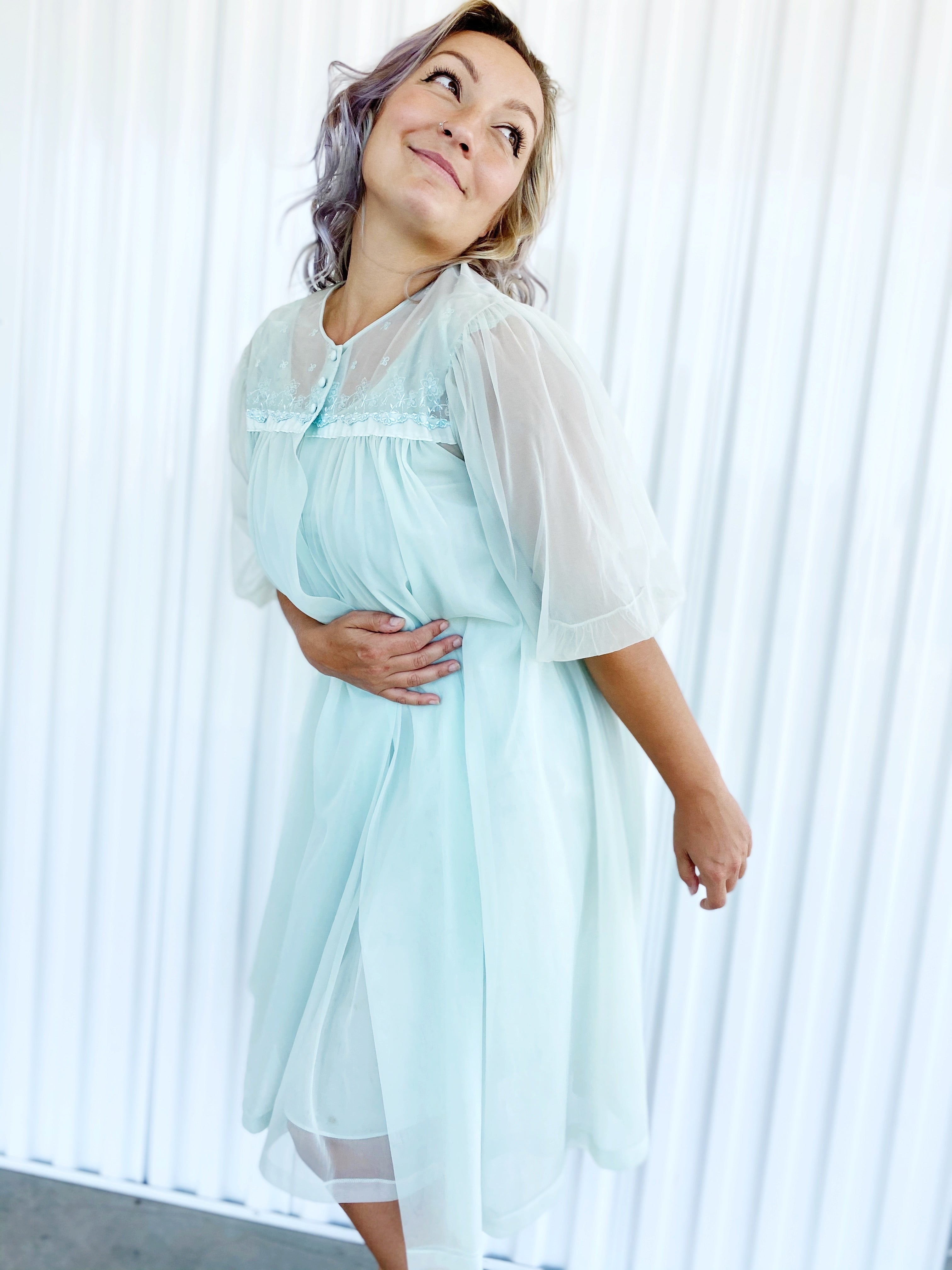 2pc Sheer Nightgown Set