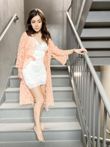 Peach Lace Night Jacket