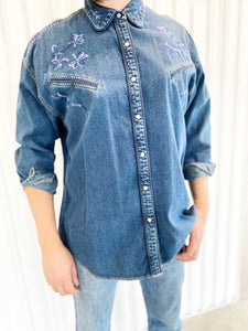 DKNY Embroidered Denim Top