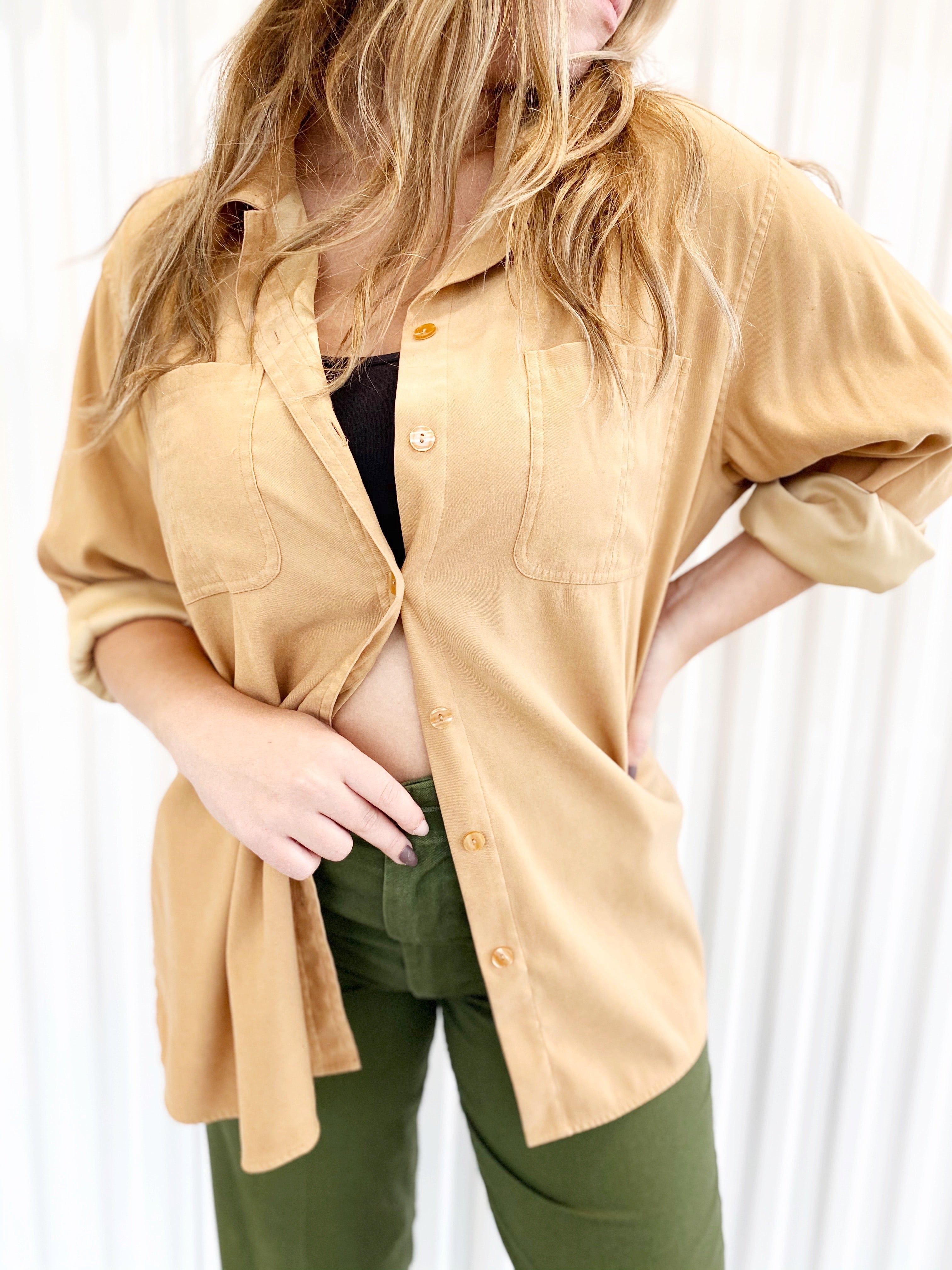 Basic Editions Tan Oversized Button Up