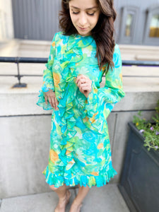 Vintage Blue- Green Floral Dress