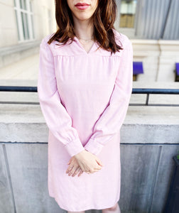 Pink Long Sleeved Shift Dress