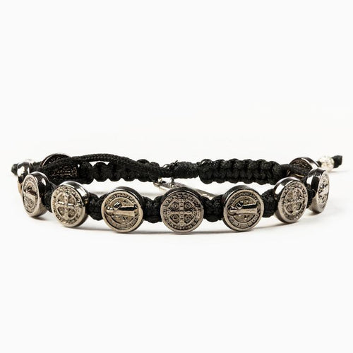 My Saint My Hero Benedictine Blessing Bracelet Black with Jet Black medals