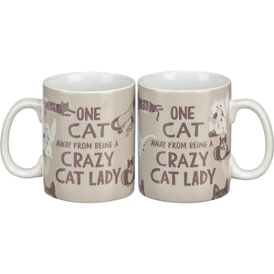 One Cat Away From Being A Crazy Cat Lady - Mug