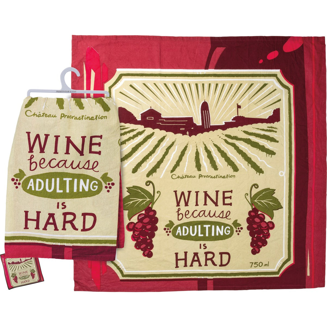 Wine Because Adulting Is Hard - Dish Towel