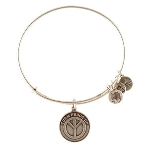 Alex and Ani Saint Turn Peace Up Charm Bangle Silver