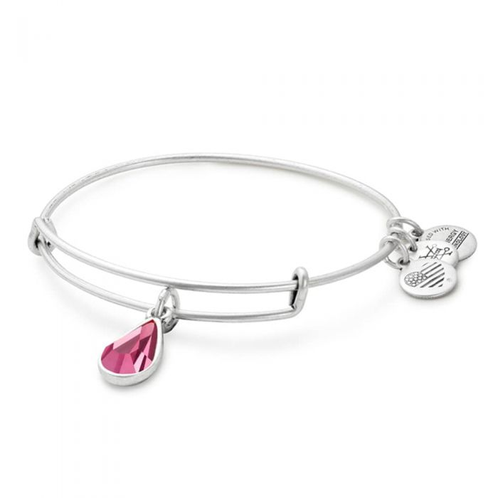 Alex and Ani - October Rose Birthstone Teardrop Charm Bangle With Swarovski® Crystals Rafaelian Silver