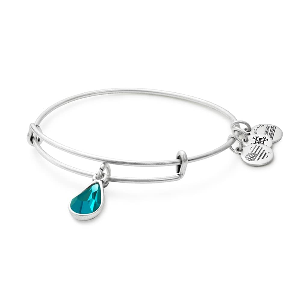 Alex and Ani - December Blue Zircon Birthstone Teardrop Charm Bangle With Swarovski® Crystals Rafaelian Silver