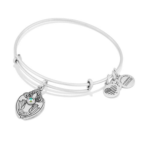Alex and Ani Crystal Dove Bangle Silver