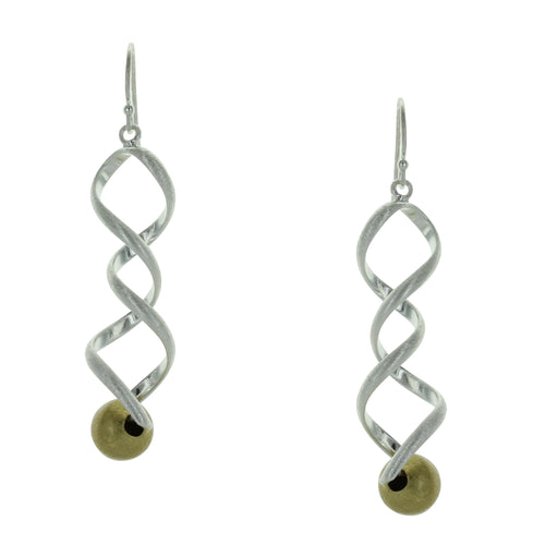 Takobia Two Tone Swirl with Gold Ball Earrings