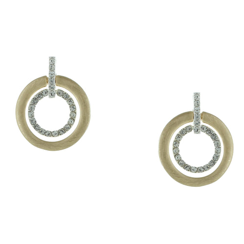 Circle with Sparkle Post Earrings