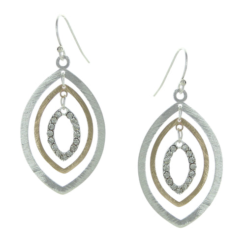 Two Tone Ovals with Crystal Earrings