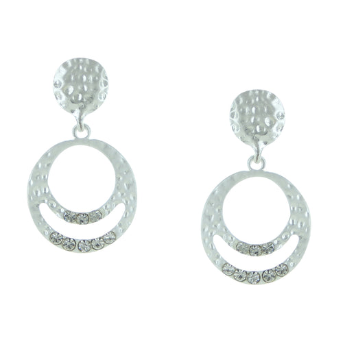 Hammered Circles with Crystal Post Earrings
