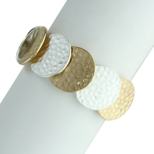 Two Tone Hammered Circles Stretch Bracelet
