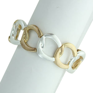 Two Tone Open Circles Stretch Bracelet