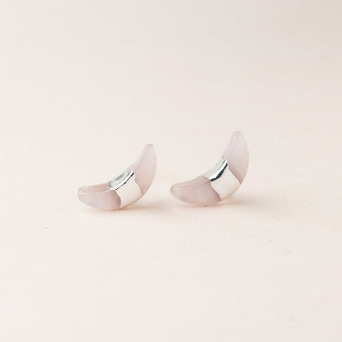 Crescent Moon Stud - Rose Quartz/Silver