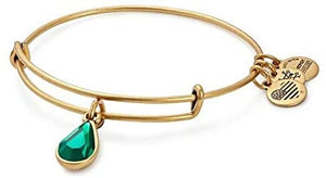 Alex and Ani - May Emerald Birthstone Teardrop Charm Bangle With Swarovski® Crystals Rafaelian Gold