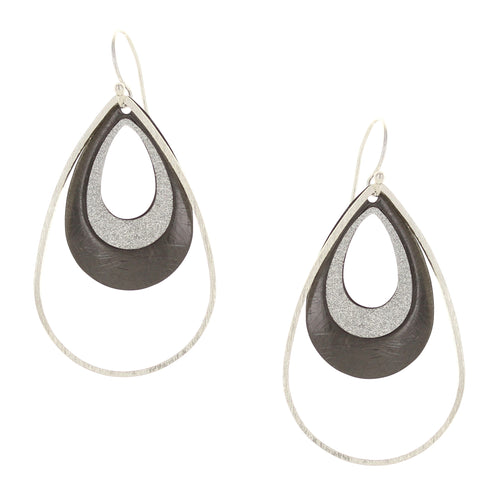 Takobia Two Tone Hematite Drop with Glitter Earrings