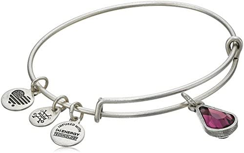 Alex and Ani - February Amethyst Birthstone Teardrop Charm Bangle With Swarovski® Crystals Rafaelian Silver