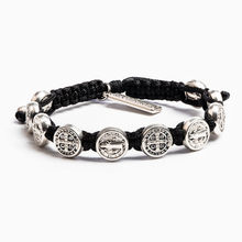 Load image into Gallery viewer, My Saint My Hero Confirmation Blessing Bracelet Black with Silver medals