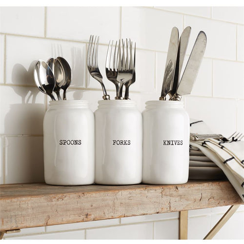 Ceramic Triple Jar Utensil Holder