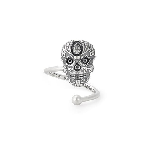 Calavera Ring Wrap - Sterling Silver