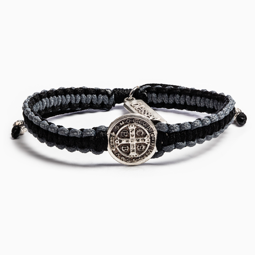 My Saint My Hero Gratitude Blessing Bracelet Black with Silver medal