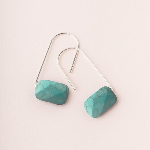 Floating Stone Earring - Turquoise/Silver