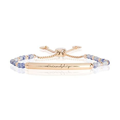 Katie Loxton Signature Stones - Friendship Engraved Yellow Gold Bar with Bluelace Agate Stones - Bracelet