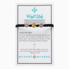 Load image into Gallery viewer, My Saint My Hero First Holy Communion Child of God Bracelet Black