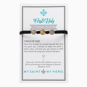 My Saint My Hero First Holy Communion Child of God Bracelet Black
