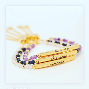 Signature Stones - Family Engraved Yellow Gold Bar with Amethyst Stones - Bracelet